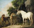 A mare and foal with a bay horse - George Stubbs