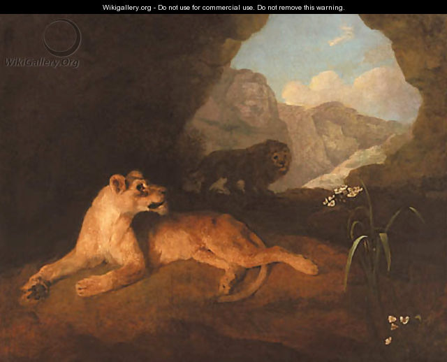 A lion and lioness in a cave - George Stubbs