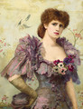 Portrait of Lillie Langtry, half-length, in a purple dress with poppies at her corsage - Herbert Gustav Schmalz