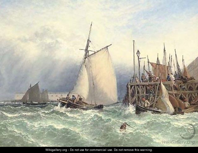Choppy waters off the entrance to Portsmouth harbour - Henry Thomas Dawson