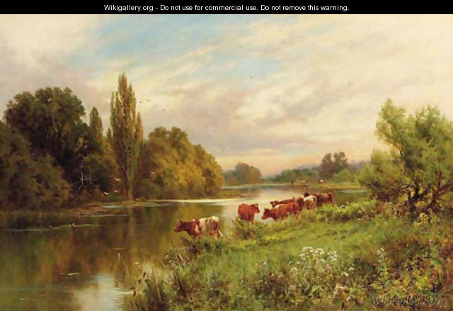 Cattle watering by a tranquil river - Henry Hillier Parker
