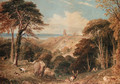 Cook's Folly, near Bristol, with deer in the foreground - Henry G. Gastineau