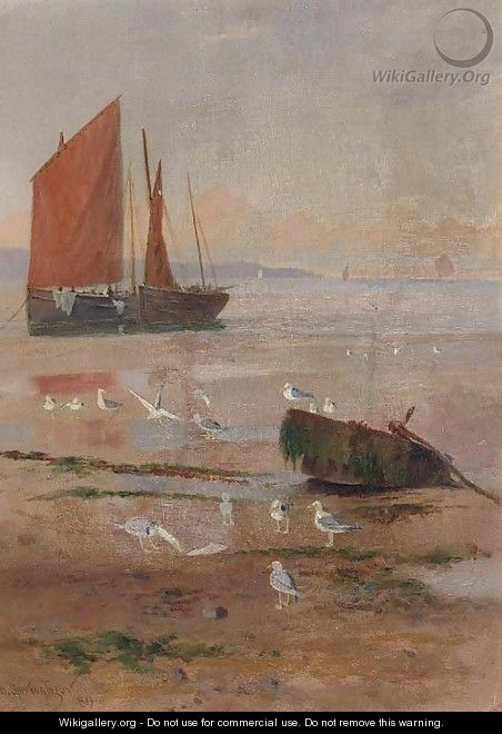 Seagulls on beach at low tide with fishing boats on the shore - Henry Spernon Tozer