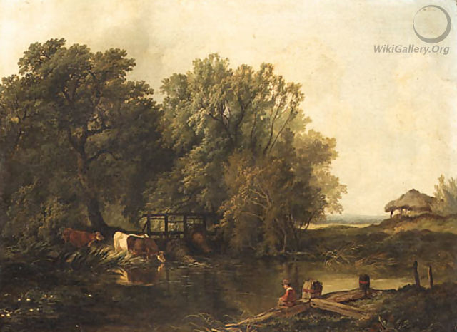 A wooded Landscape with a Boy fishing and Cattle watering by a Pool - Henry John Boddington