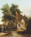 Figures before a cottage in a wooded landscape - Henry John Boddington