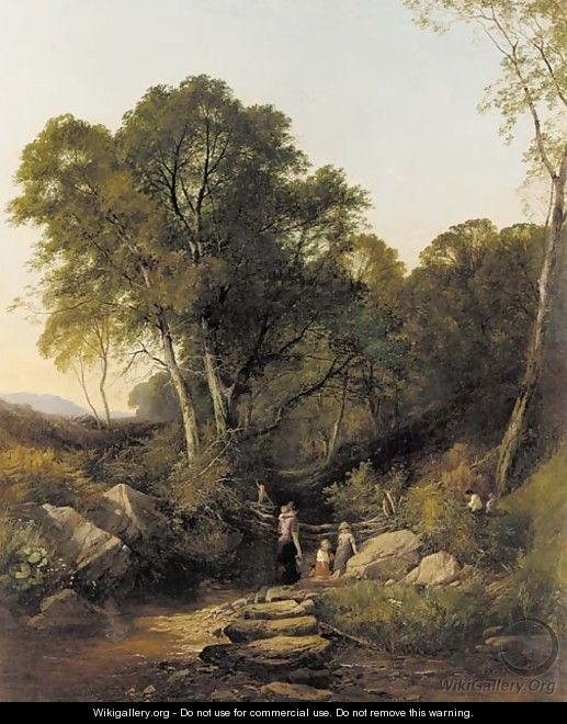 Family gathering water in a wooded landscape - Henry John Boddington