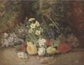 Summer flowers in a wicker basket, on a mossy bank - Henry J. Livens