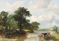 Cattle watering in a wooded river landscape - Henry Jutsum