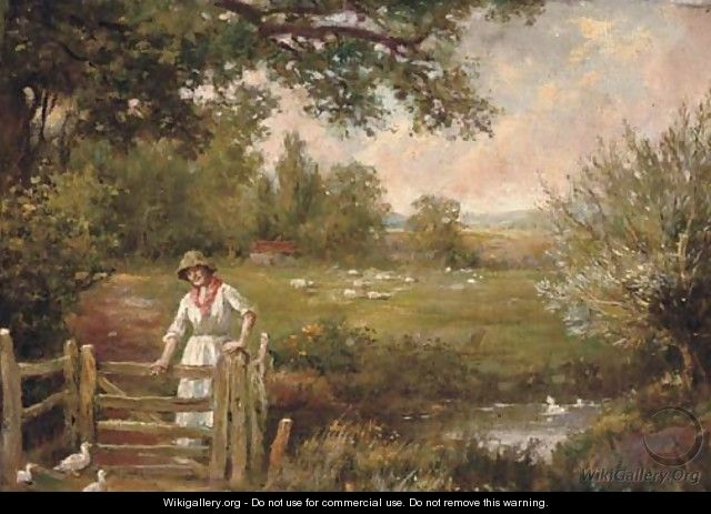 Feeding the ducks - Henry John Yeend King