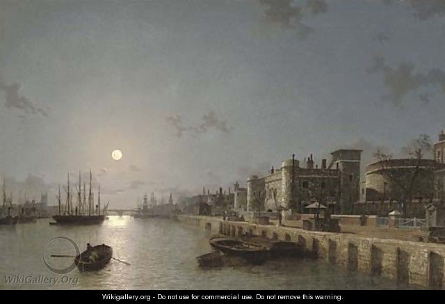 View of the Thames by moonlight, towards London Bridge, with the Tower of London and Traitors