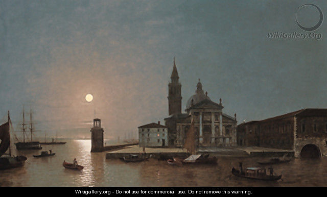 View of San Giorgio Maggiore, Venice, by moonlight - Henry Pether