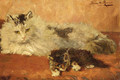 The watchful mother - Henriette Ronner-Knip