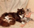 Mother cat and her kittens - Henriette Ronner-Knip