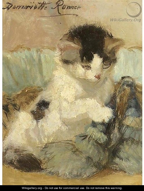 A kitten playing with a tassle - Henriette Ronner-Knip