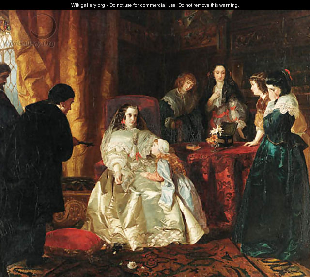 The despair of Henrietta Maria over the death of her husband King Charles I - Henrietta Mary Ward