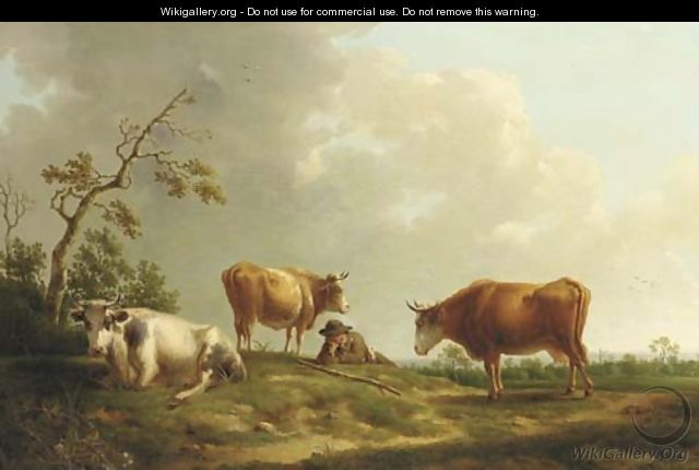 A pastoral landscape with cattle and a herdsman - Hendrik van Anthonissen