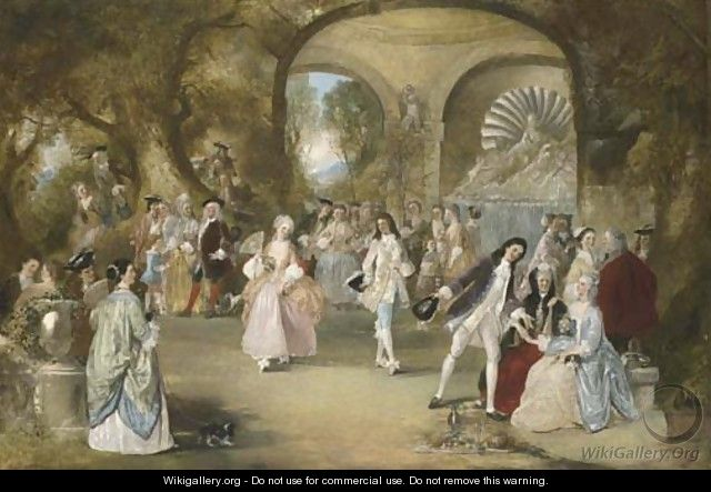 A fete champetre, with courtly figures dancing - Henry Andrews