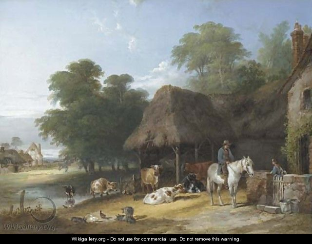 Figures and livestock by a riverside farmhouse - Charles and Henry Shayer