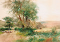 A shepherd driving sheep down a country lane with the harvesters beyond - Henry Charles Fox