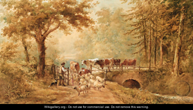 A shepherd driving cattle and sheep over a bridge in a wooded landscape - Henry Earp