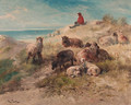 A shepherd and flock resting in the dunes - Henri Schouten