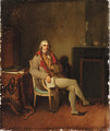 Portrait of a gentleman, small seated full-length, holding La Gazette Nationale in his right hand, in an interior - Henri Nicolas van Gorp