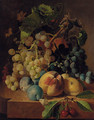 Grapes, peaches, plums and cherries on a marble ledge - Henri Nardeux