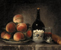 Peaches on a Plate, a Sugar Bowl, a Glass of Wine, a Bottle and a Baguette on a marble Ledge - Henri-Horace Roland de la Porte