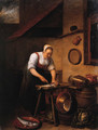 A maid standing by a table cleaning fish, pots, pans and cabbages on a barrel nearby, in a farmyard - Hendrick Maertensz. Sorch (see Sorgh)