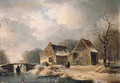 A wooded winter landscape with peasants walking along a frozen waterway by a cottage - Hendrik Manfred Haus