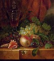 Fruit and seashells on a ledge - Jan Hendrik Verheijen