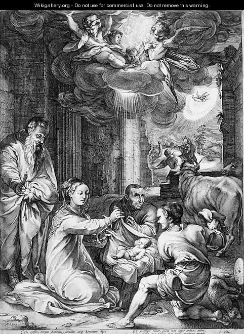 The Adoration of the Shepherds, from The Life of the Virgin - Hendrick Goltzius