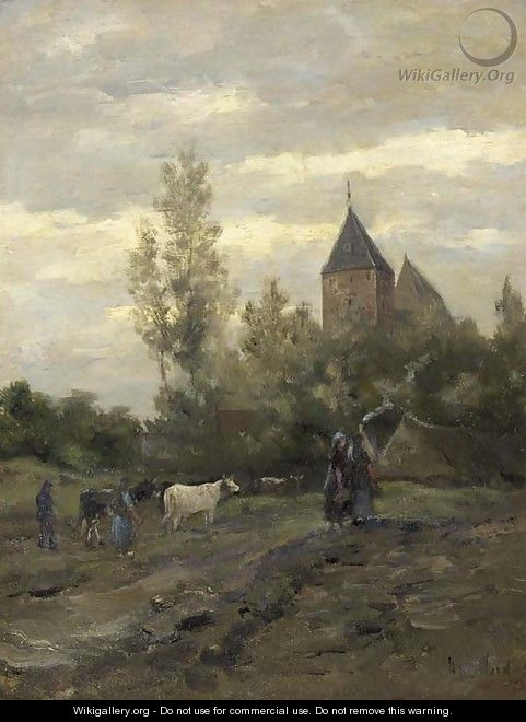 A view on the church of Vries, Drenthe - Hendrik Willem Mesdag