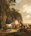 An Italianate Landscape with Travellers resting by a Grotto - Hendrick Verschuring