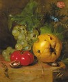 A still life with fruit and insects - Hendrik Reekers