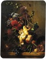A still life with dahlias, hollyhocks and other flowers in a glass vase and fruit on a gilt tazza - Hendrik Reekers