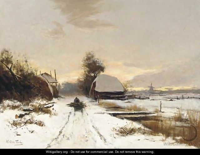 Winter a woodgatherer on a snow covered path at dusk - Hendrik Otto Van Thol