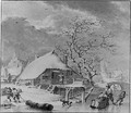 Winter Figures on the Ice near a House, a church beyond - Henri Meyer