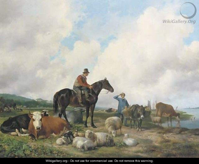 Oosterbeeks paard a farmer on horseback amongst his cattle - Hendrikus van den Sande Bakhuyzen
