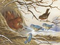 Red squirrels eating nuts on a snow covered branch before an audience of blue tits and a robin - Henry Bright