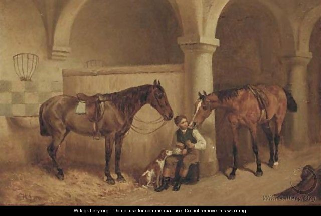 A huntsman in a stable - H.F. Lang