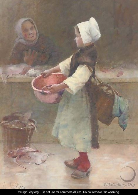 The young Breton fishergirl - Hector Caffieri