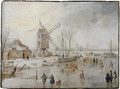 A winter landscape with figures on a frozen river near a windmill - Hendrick Avercamp