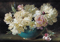 Pink and white peonies in a bowl - Helen Cordelia Coleman Angell