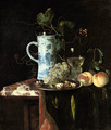A Chinese transitional blue and white silver-mounted tankard, grapes and walnuts on a silver plate, a 'roemer' with white wine and two peaches on a pa - Hendrik de Fromantiou