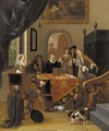 A music party in an elegant interior, seen past a trompe l'oeil curtain - Hendrik Carree
