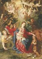 The Rest on the Flight into Egypt with the youthful Saint John the Baptist and angels with fruit and flowers, cherubim aloft holding the Instruments o - Hendrik van Balen, I