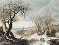 A winter landscape with peasants, a village beyond - Gijsbrecht Leytens