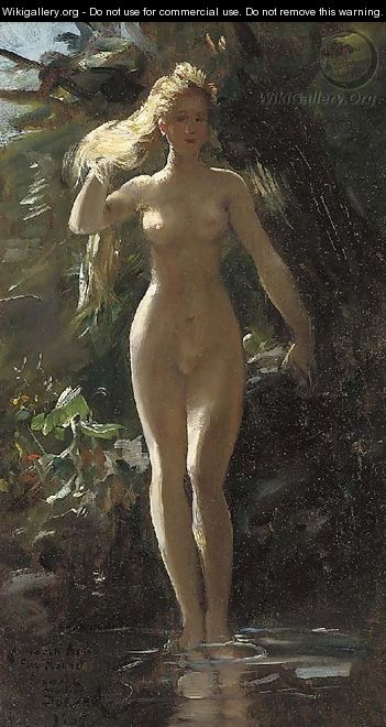 A nymph in a woodland pool - Gustave Surand