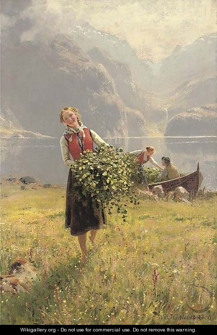 Sommerdagved en Norsk fjord (A summerday by a Norweigan fjord) - Hans Dahl